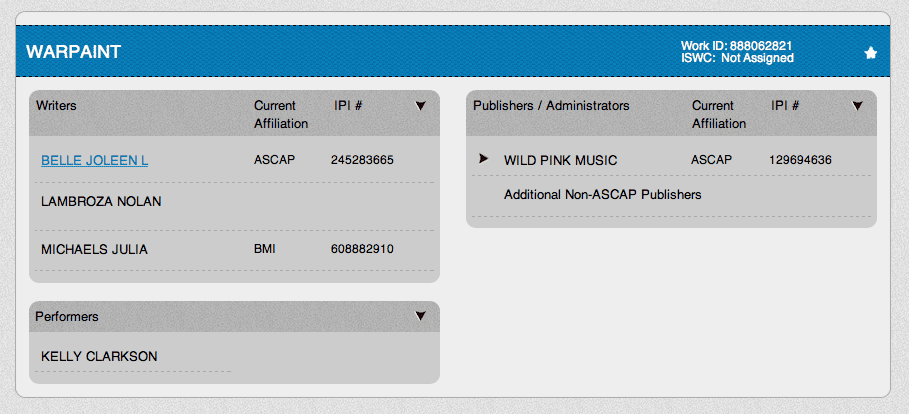 War Paint ASCAP